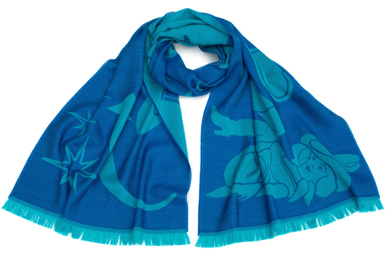 Neon Signs Scarf in Cyan