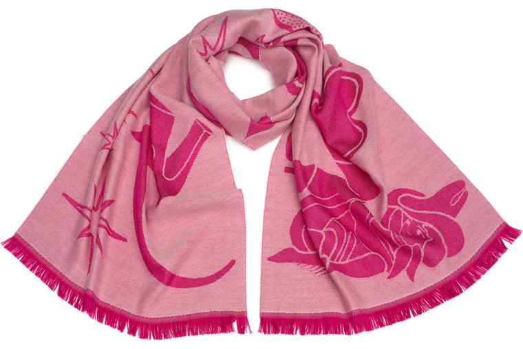 Neon Signs Scarf in Fuchsia