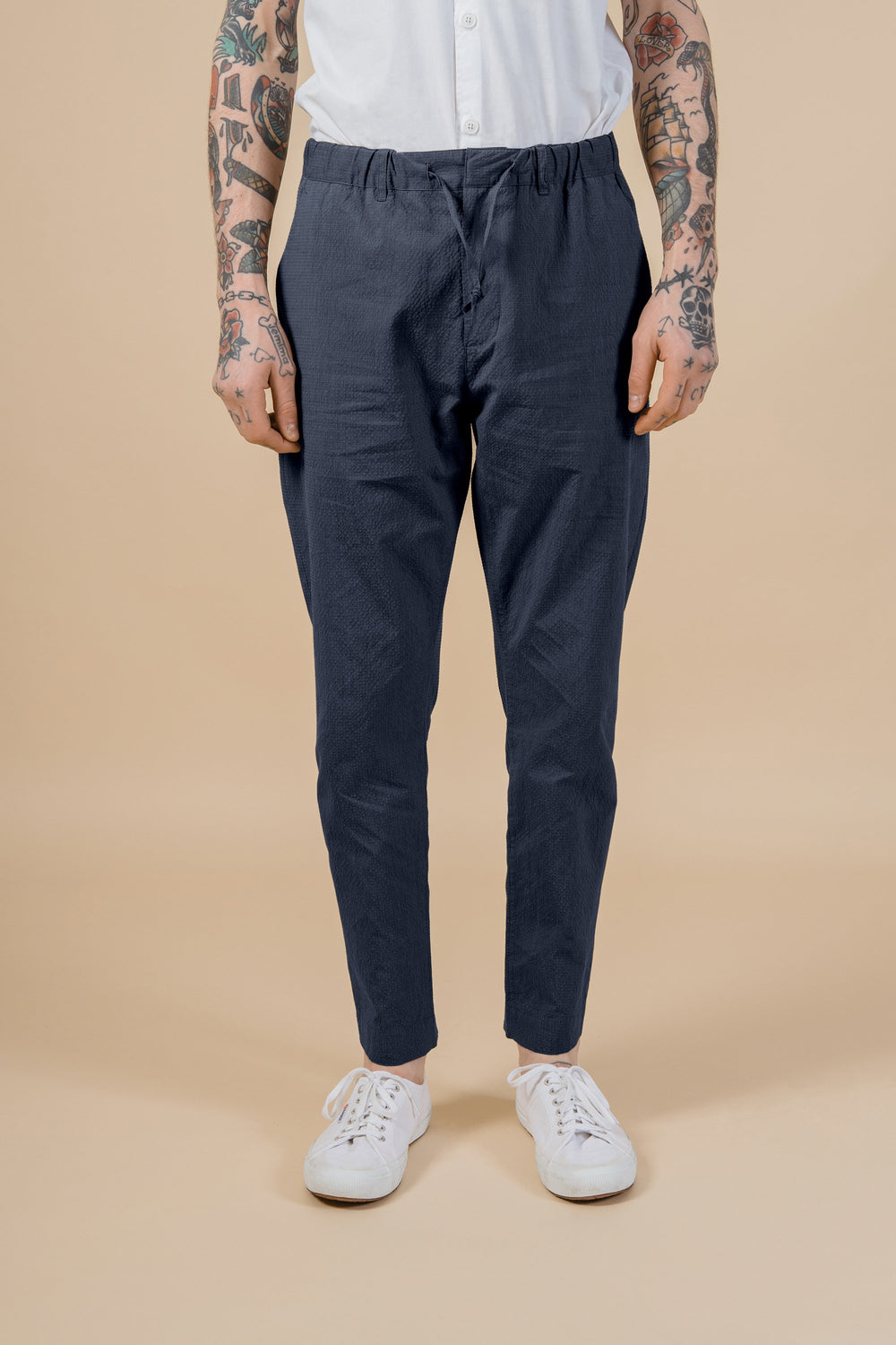 Kestin Hare Inverness Trousers in Navy Check