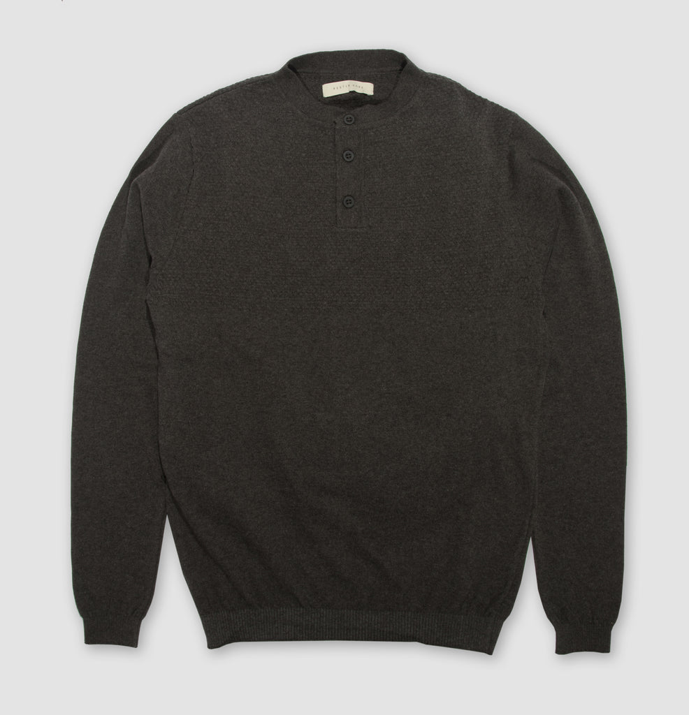 Musselburgh Knitted Grandad Collar Sweatshirt in Charcoal