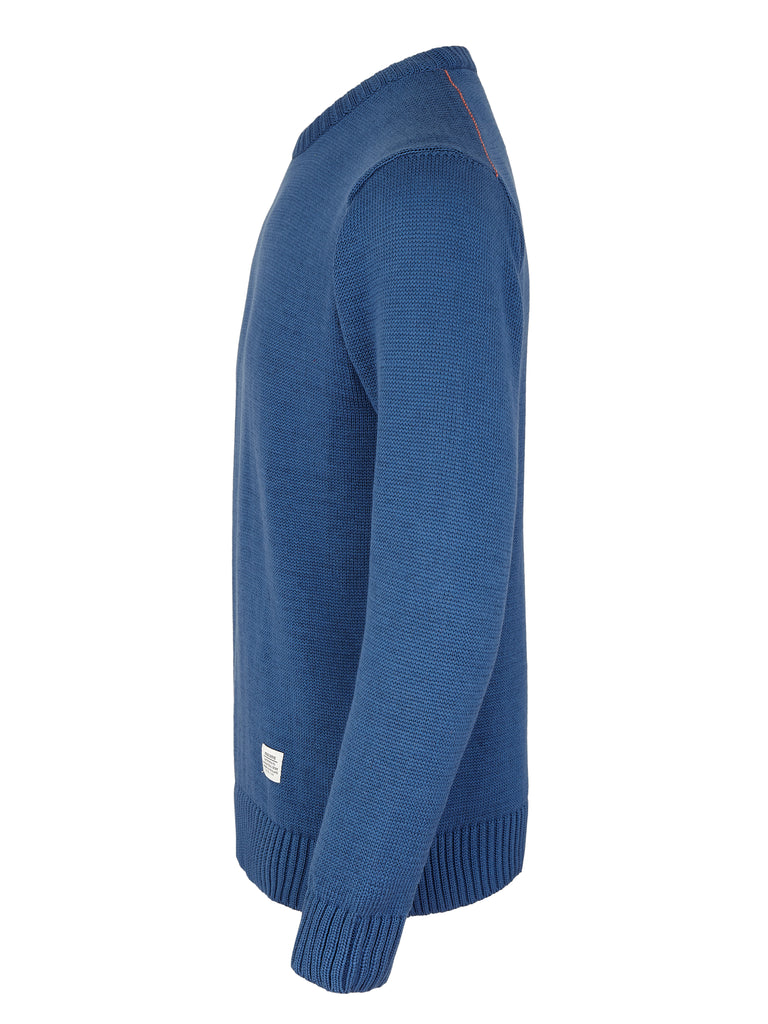 Peregrine Ashton Cotton Crew Jumper - Oxford Blue