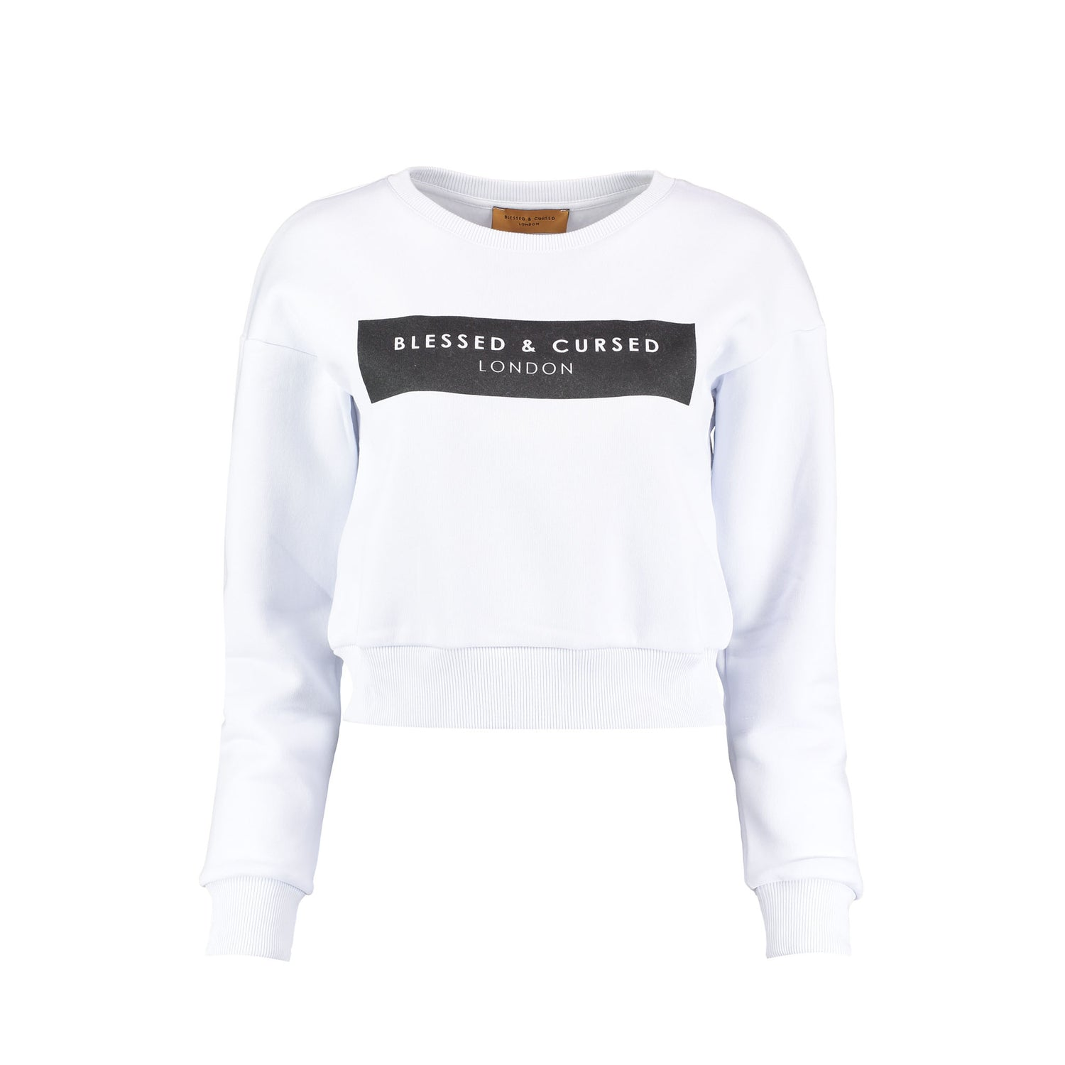 Blessed & Cursed Cropped Logo Sweat-Shirt - White