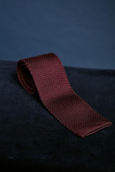 Burgundy Knitted Silk Tie