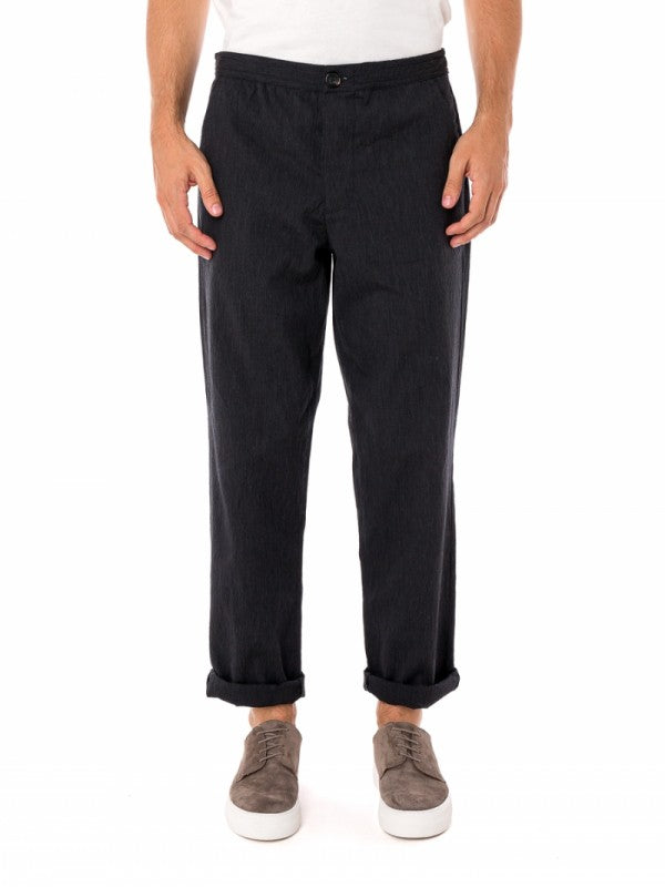 Oliver Spencer Drawstring Trouser in Portman Charcoal