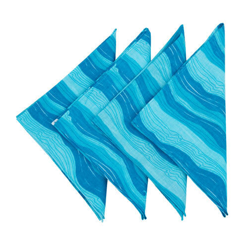 Sea waves table napkins- Set of four