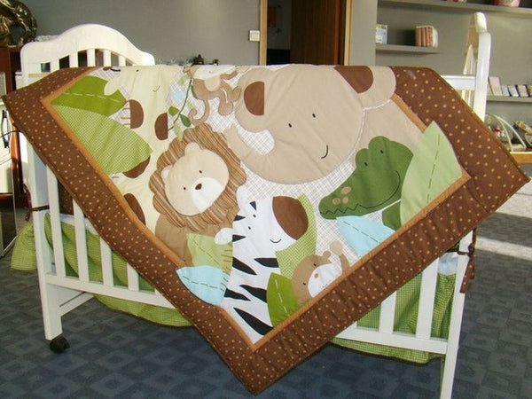 Embroidered Monkeys Frolic Baby Cot Crib Bedding Set