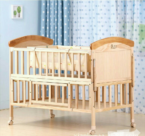 Solid Wood Baby Bed Multi-functional
