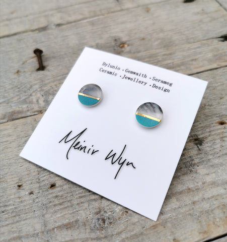Medium Turquoise Marbled Studs