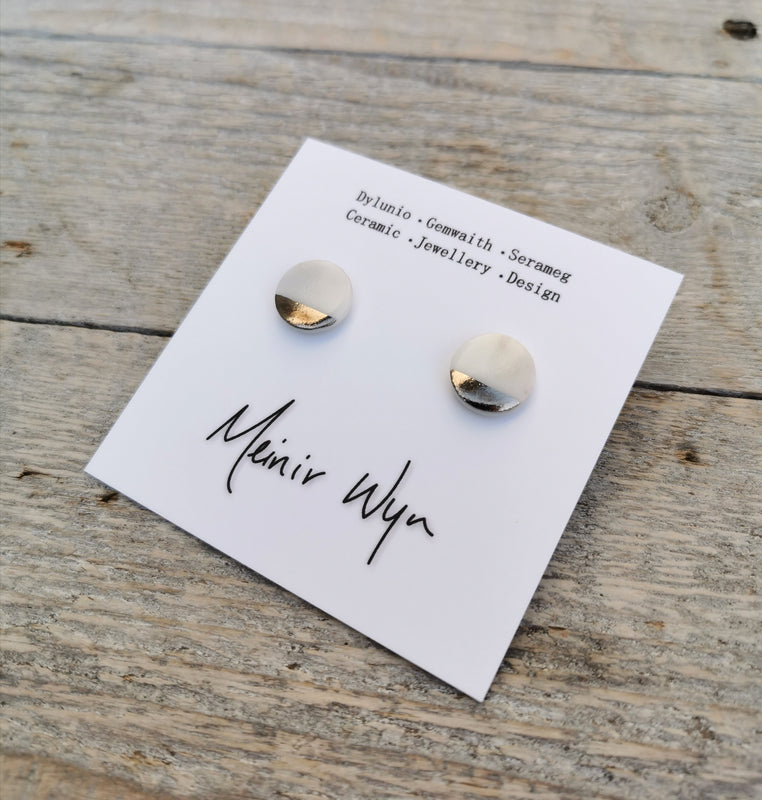Medium Porcelain & Platinum Studs