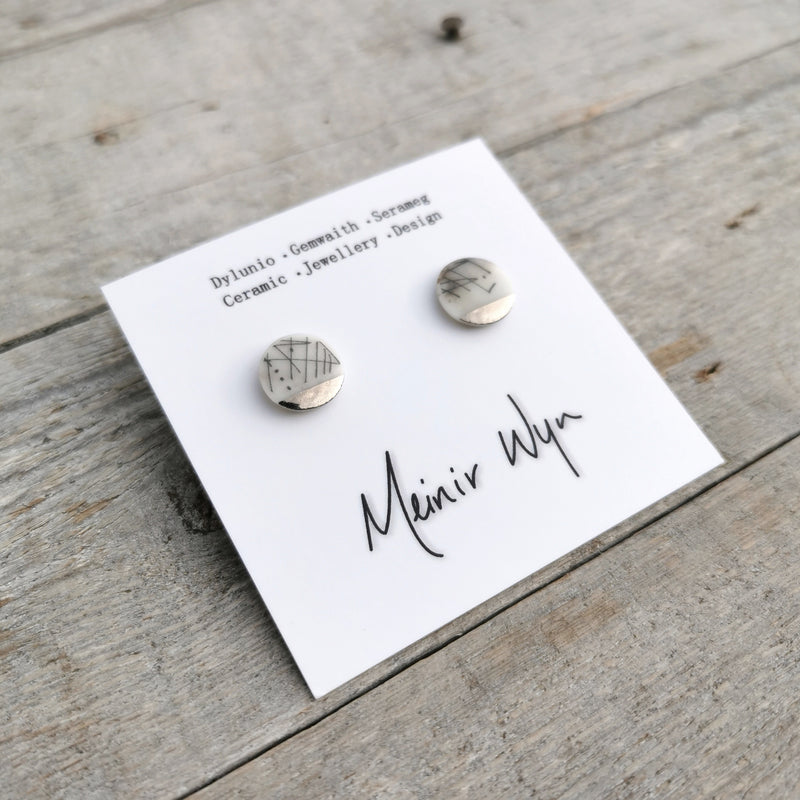 Medium Linear Porcelain & Platinum Studs