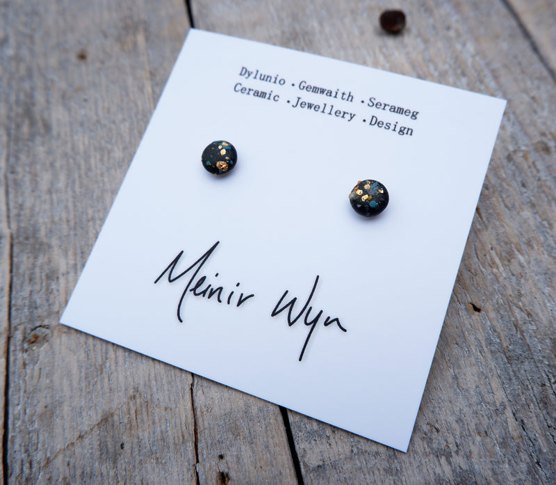 Black Splatter Studs