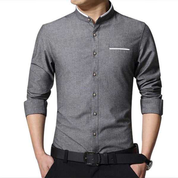 Casual Stand Up Collar Dress Shirt-MegaStoreCentral