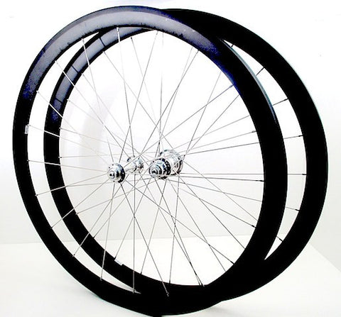 Picture of custom carbon road bike tubular wheels 38mm deep using White industries T11 hubs.