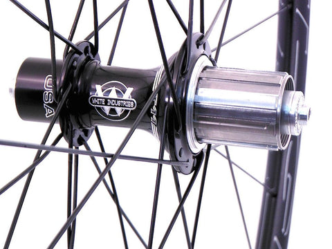 XLR8 wheels custom handmade HED road tubeless bicycle wheels using White Industries T11 hubs and Sapim Spokes. Photo of rear hub.