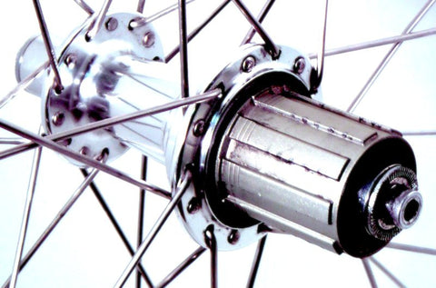 Photo of BikeHubStore Polished hubs rebuilt onto Kinlin XC279 polished rims. Rear hub pictured.