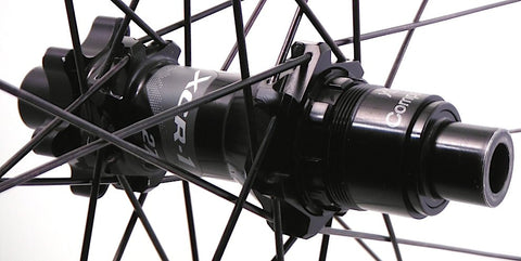 Image of custom Carbon MTB rim rebuild on Giant DT Swiss Hubs. Rear hub pictured.