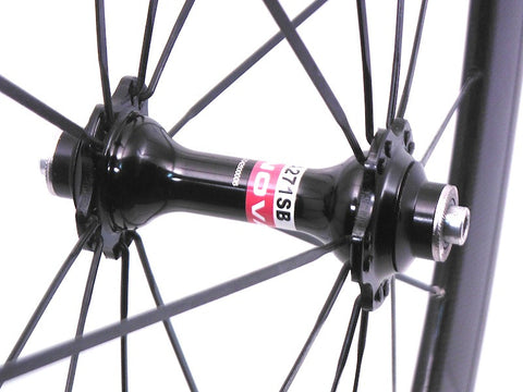 Picture of Chinese Fake Carbon Campagnolo Bora Wheels rebuilt to be reliable by XLR8 Wheels. Front Novatec hub shown.