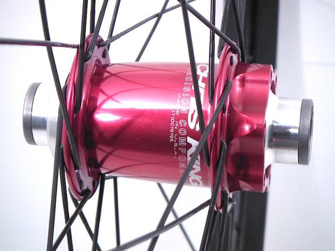 Image of Custom Chris King MTB hub rebuild onto Syntace W35 Rims by XLR8 Wheels. Front hub pictured.