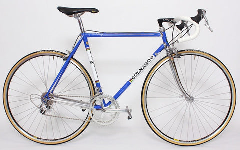 Image of 1990 Colnago Master racing bike restoration with custom retro handmade XLR8 wheels. Side Profile shown.