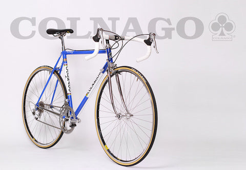 Image of 1990 Colnago Master racing bike restoration with custom retro handmade XLR8 wheels. Bike Profile shown.