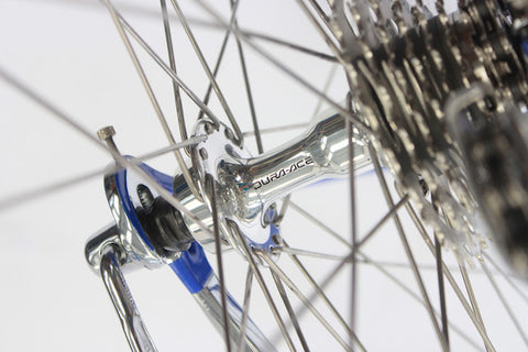 Image of 1990 Colnago Master racing bike restoration with custom retro handmade XLR8 wheels. Rear Dura Ace 7400 hub shown.