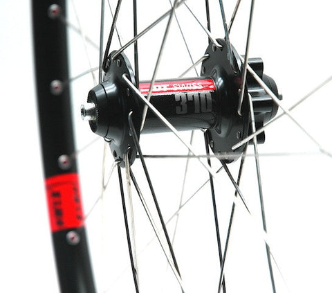 Image of custom alloy MTB XC and Trail wheelset using DT Swiss 370 front hub, XLR8 MD MTB rear hub, and Alex Evo 2.3 rims. Pic shows front hub.