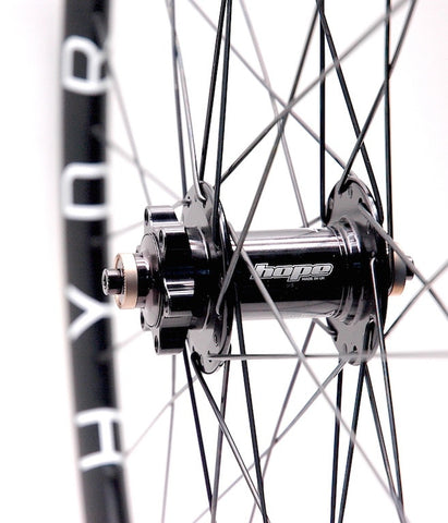 Image of Hope 9mm front disc hub on Hplusson HYDRA custom hand built by XLR8 Wheels.