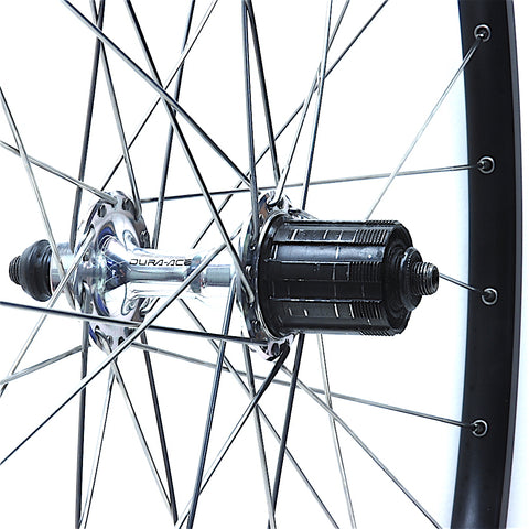 Shimano Dura Ace 7400 on H Plus Son TB14 Black Rear by XLR8 Performance Bicycle Wheels
