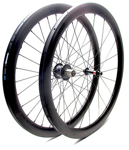 Nextie NXT45RT tubular carbon road rims laced onto Powertap Pro and Novatec hubs by XLR8 Performance Bicycle Wheels