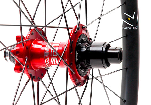 Nextie Asymmetirc 30mm wide carbon 29er rims on Project 321 Red Boost hubs by XLR8 Performance Bicycle Wheels rear hub