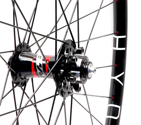 Hplusson THE HYDRA gravel disc road rims on Novatec MTB hubs by XLR8 Performance Bicycle Wheels front hub