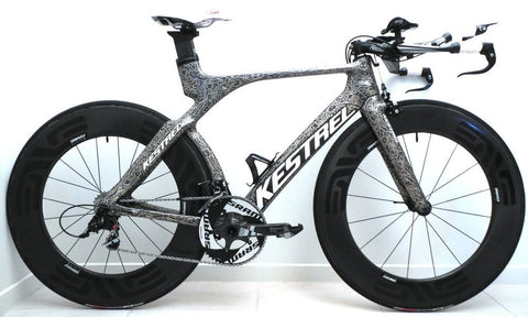 Image of Kestrel Time Trial Trathlon bike with Enve Carbon wheels repaired by XLR8 wheels.