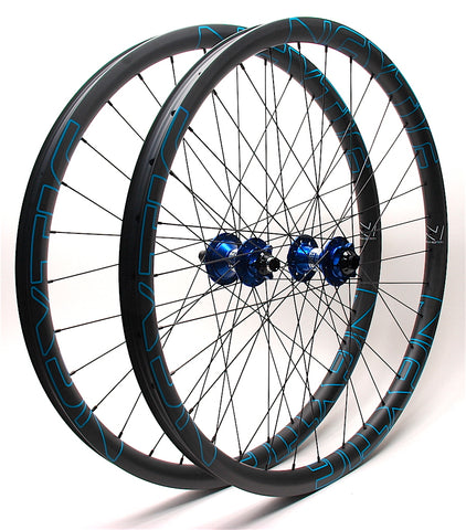 Project 321 Blue hubs on Nextie Premium carbon rims built by XLR8 Performance Bicycle Wheels Angle
