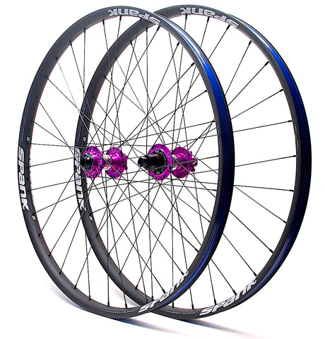 Project 321 Purple hubs on Spank Oozy Trail 350 rims angled by XLR8 Performance Bicycle Wheels