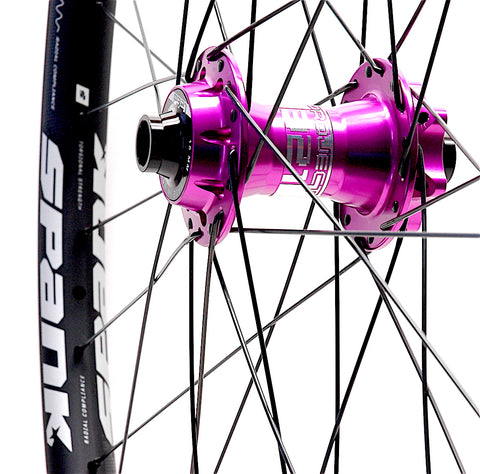Project 321 Purple hubs on Spank Oozy Trail 350 rims front by XLR8 Performance Bicycle Wheels