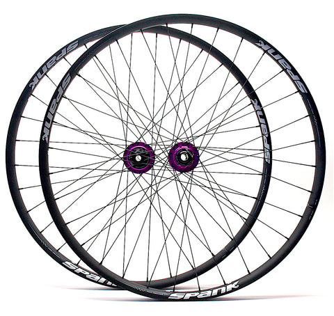Project 321 Purple hubs on Spank Oozy Trail 350 rims profile by XLR8 Performance Bicycle Wheels