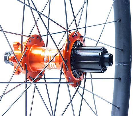 XLR8 Performance Bicycle Wheels Project 321 SuperBoost Orange on Spank 350 rear