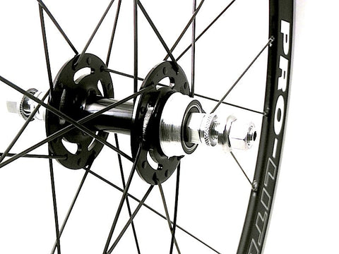Image of Prolite Bracchiano alloy bicycle wheel rebuilt to track wheel by XLR8 wheels.