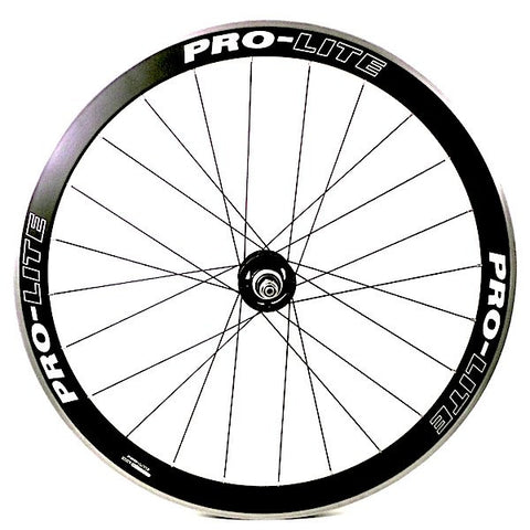 Image of Prolite Bracchiano alloy bicycle wheel rebuilt to track wheel by XLR8 wheels. Profile shown.