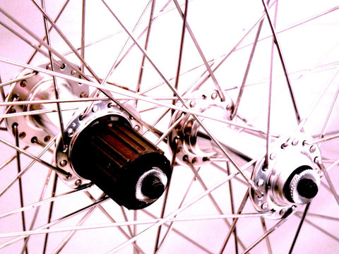 Picture of XLR8 custom alloy road wheels Velocity A23 on Velocity hubs with Sapim spokes, all silver.