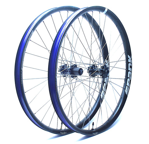 Spank Oozy Trail 395 Wheelset Rebuild Angled by XLR8 Performance Bicycle Wheels