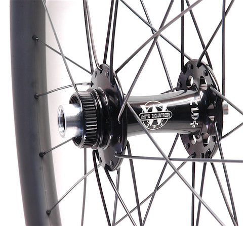 Industry9 Boost and White Industries CLD rear hub laced to Nextie Premium 33mm wide carbon rim by XLR8 Performance Bicycle Wheels front