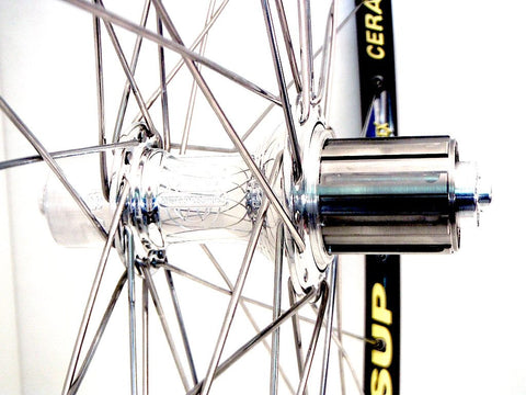 Photo of XLR8 Custom Built White Industries T11 hubs on Mavic Reflex Ceramic Tubulars, showing the rear hub.