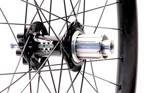 White Industries XMR+ Boost hubs on Nextie 38mm Asymmetrical Carbon MTB 29er rim by XLR8 Performance Bicycle Wheels Rear hub
