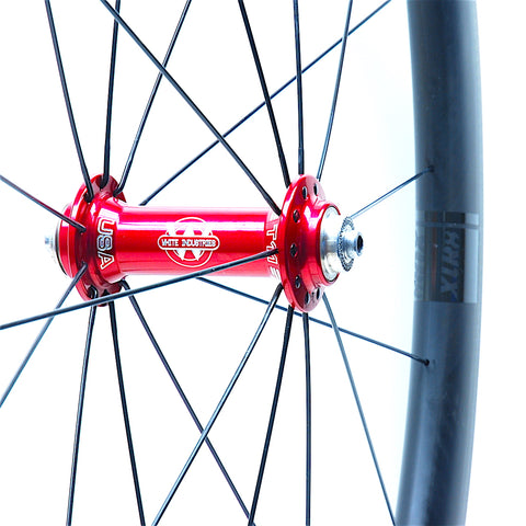 White industries T11 Red on Tailwind 4550 Front by XLR8 Performance Bicycle Wheels