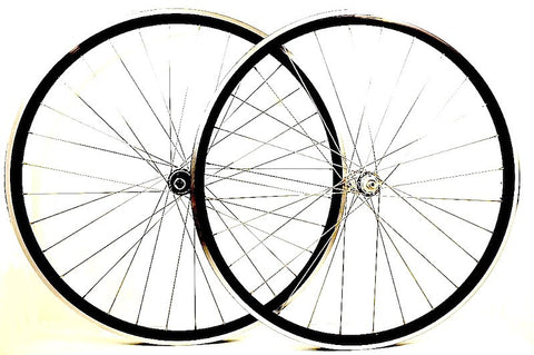 Photo of XLR8 wheels custom retro bicycle road wheels on Rouleur rims. Pair pictured.
