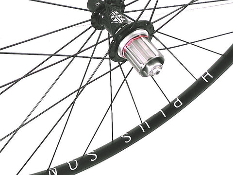 Photo of custom XLR8 Wheels road bicycle wheels using White industries T11 hubs on Hplusson Archetype rims.