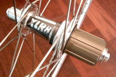 Image of silver polished XLR8 MD rear hub with Shimano 10 speed freehub (also available in 11 speed Shimano and Campagnolo).