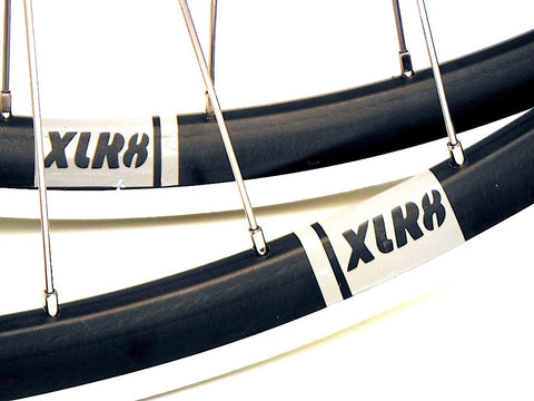 Image of XLR8 Rouleur rim decals on handbuilt on Shimano 105 hubs with Sapim Race spokes.