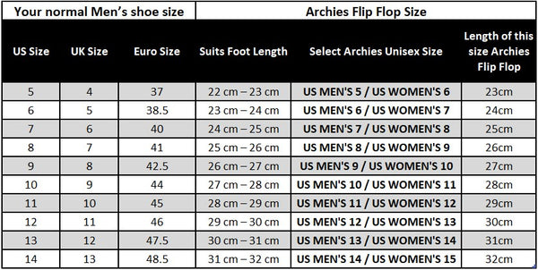 Size Archies Footwear United States